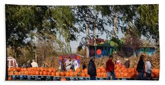 At The Pumpkin Farm Bath Towel by Kay Novy