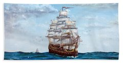 Hand Towel featuring the painting Atlantic Crossing  by Lee Piper