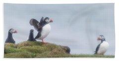 Atlantic Puffins Fratercula Arctica Hand Towel by Panoramic Images