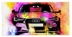 Audi A6 Avant Watercolor Bath Towel by Daniel Janda