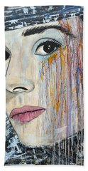 Audrey Hepburn-abstract Bath Towel