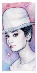 Audrey Hepburn Fashion Watercolor Hand Towel by Olga Shvartsur