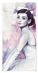 Audrey Hepburn Purple Watercolor Portrait Hand Towel