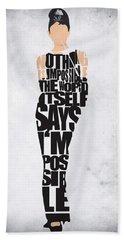 Audrey Hepburn Typography Poster Hand Towel by Ayse Deniz