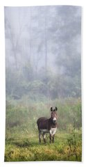 Bath Towel featuring the photograph August Morning - Donkey In The Field. by Gary Heller