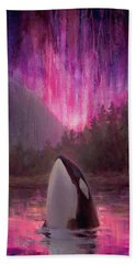 Orca Whale And Aurora Borealis - Killer Whale - Northern Lights - Seascape - Coastal Art Hand Towel