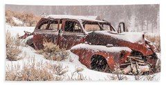 Bath Towel featuring the photograph Auto In Snowstorm by Sue Smith
