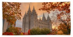 Autumn At Temple Square Hand Towel by Dustin  LeFevre