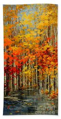 Bath Towel featuring the painting Autumn Banners by Tatiana Iliina