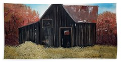 Bath Towel featuring the painting Autumn - Barn -orange by Jan Dappen