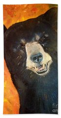 Bath Towel featuring the painting Autumn Bear by Jan Dappen
