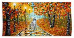 Autumn Beauty Original Palette Knife Painting Bath Towel by Georgeta  Blanaru