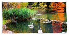 Autumn By The Swan Lake Hand Towel