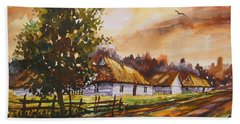 Autumn Cottages Bath Towel