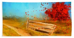 Autumn Farm- Autumn Impressionism Oil Palette Knife Painting Hand Towel