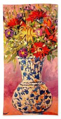 Hand Towel featuring the painting Autumn Flowers by Ana Maria Edulescu