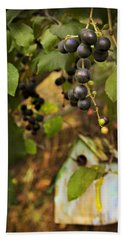 Autumn Grapes With Birdhouse Hand Towel