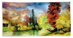 Bath Towel featuring the painting Autumn In Park by Sorin Apostolescu