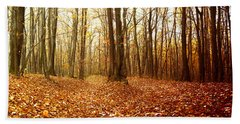 Autumn In The Forest With Red And Yellow Leaves Bath Towel