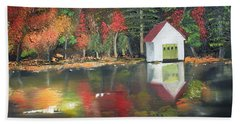 Hand Towel featuring the painting Autumn - Lake - Reflecton by Jan Dappen