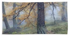 Autumn Larch And Fog Alps, Switzerland Bath Towel
