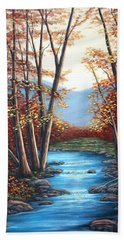 Hand Towel featuring the painting Autumn Mountain Stream  by Fran Brooks