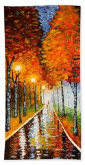 Autumn Park Night Lights Palette Knife Bath Towel by Georgeta  Blanaru