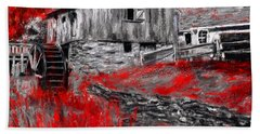 Autumn Promise- Red And Gray Art Bath Towel