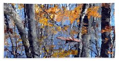 Autumn Reflection With Leaf Hand Towel