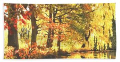 Hand Towel featuring the painting Autumn Reflections by Sophia Schmierer