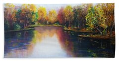 Hand Towel featuring the painting Autumn Reflections  by Vesna Martinjak