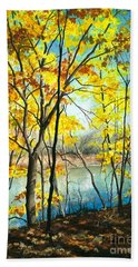 Autumn River Walk Hand Towel