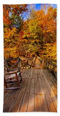 Autumn Rocking On Wooden Bridge Landscape Print Hand Towel