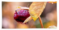 Hand Towel featuring the photograph Autumn Rosebud by Rona Black