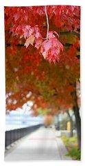 Bath Towel featuring the photograph Autumn Sidewalk by Viviana  Nadowski