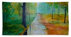Hand Towel featuring the painting Autumn Stroll by Gary Smith