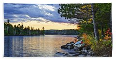 Autumn Sunset At Lake Hand Towel