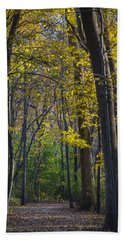 Bath Towel featuring the photograph Autumn Trees Alley by Sebastian Musial