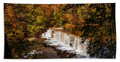 Autumn Trees On Duck River Bath Towel by Jerry Cowart