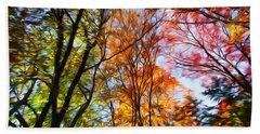 Bath Towel featuring the photograph Autumn Trees Photo Manipulation by Kristen Fox