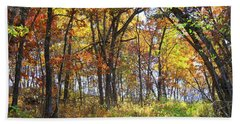 Autumn Woods Bath Towel by Inspired Arts