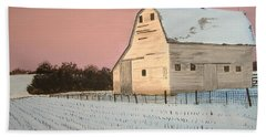 Award-winning Original Acrylic Painting - Nebraska Barn Hand Towel