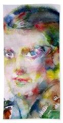 Ayn Rand - Watercolor Portrait Bath Towel