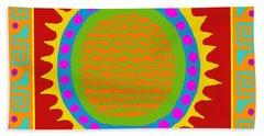 Bath Towel featuring the digital art Aztec Del Sol by Vagabond Folk Art - Virginia Vivier