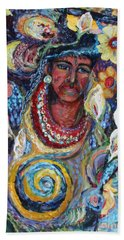 Bath Towel featuring the painting Aztec Garden by Avonelle Kelsey