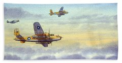 B-25 Mitchell Bath Towel by Bill Holkham