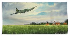 B17 Over Norfolk England Bath Towel by Bill Holkham
