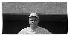 Babe Ruth In Red Sox Uniform Hand Towel by Underwood Archives
