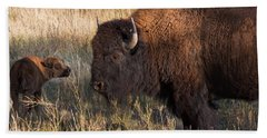 Baby Bison Meets Daddy Hand Towel