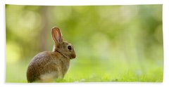 Baby Bunny In The Forest Bath Towel